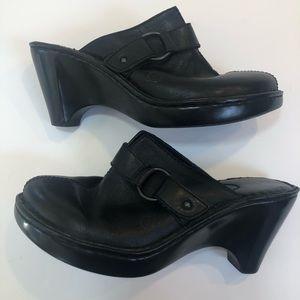Born Black Clog Mule with Buckle leather Size 9